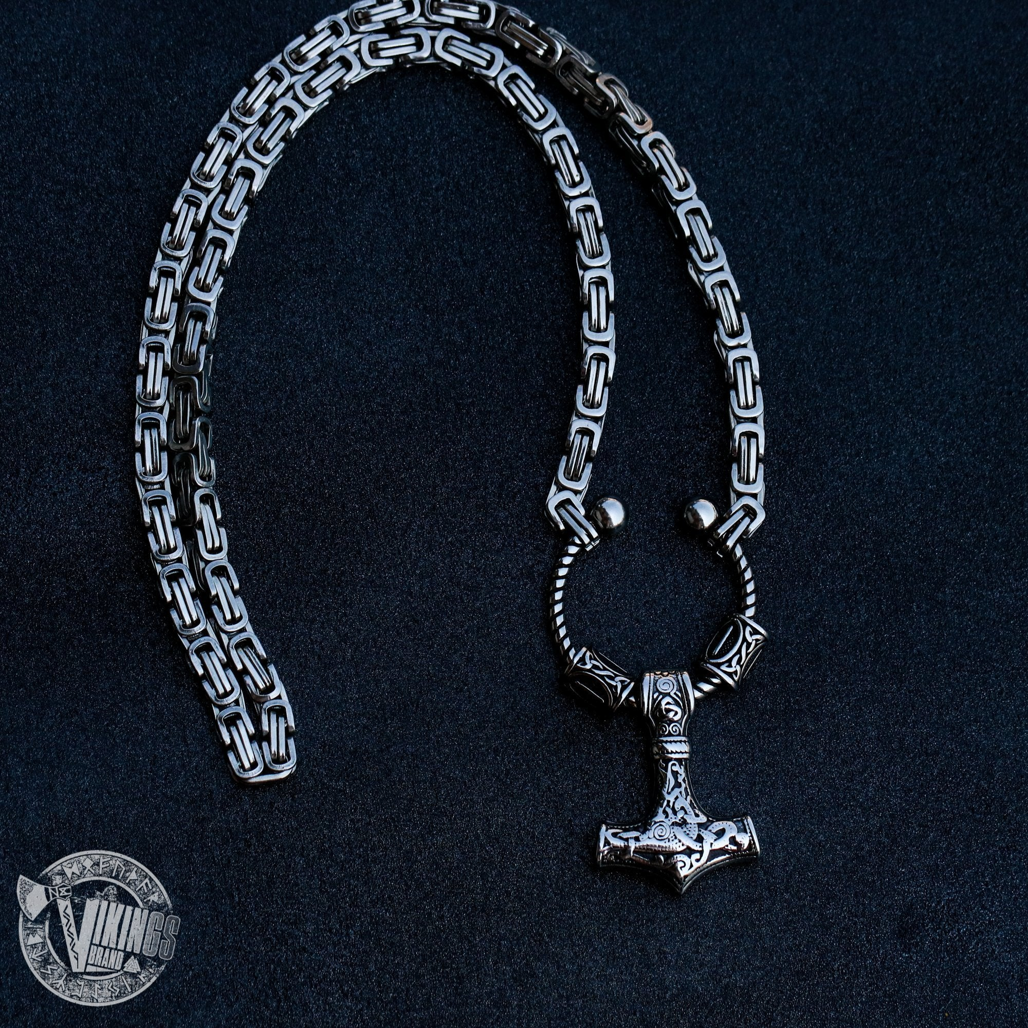 Viking King Chain Necklace with Mjolnir and Two Runic Beads - VikingsBrand