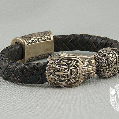 Viking Leather Bracelet with Jormungandr - art. 001-000 - VikingsBrand