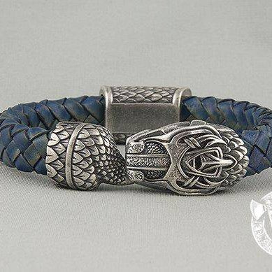 Viking Leather Bracelet with Jormungandr art. 001-004 - VikingsBrand