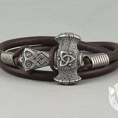 Viking Leather Bracelet with Thor's Hammer (001-046) - VikingsBrand