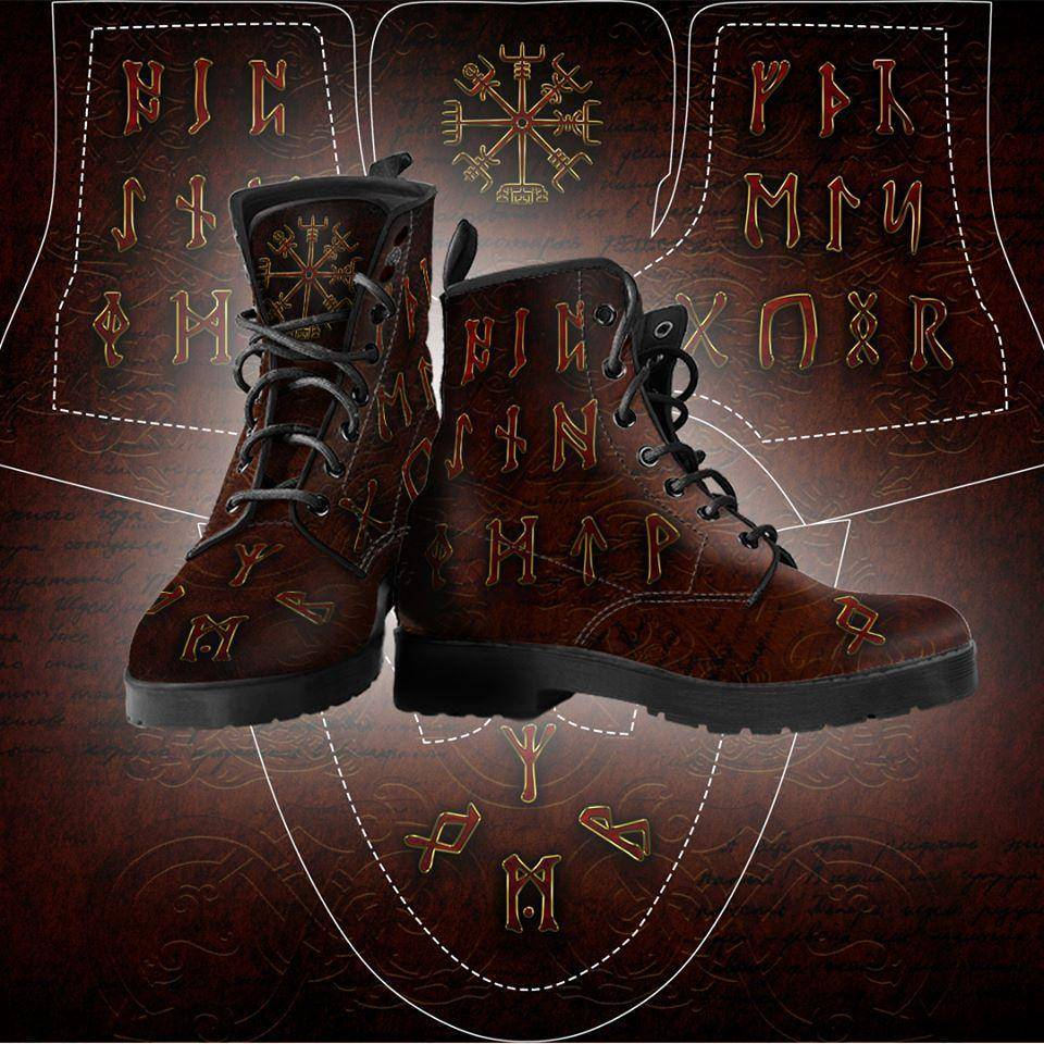 Viking Men's Leather Boots With Runes and Vegvisir - VikingsBrand