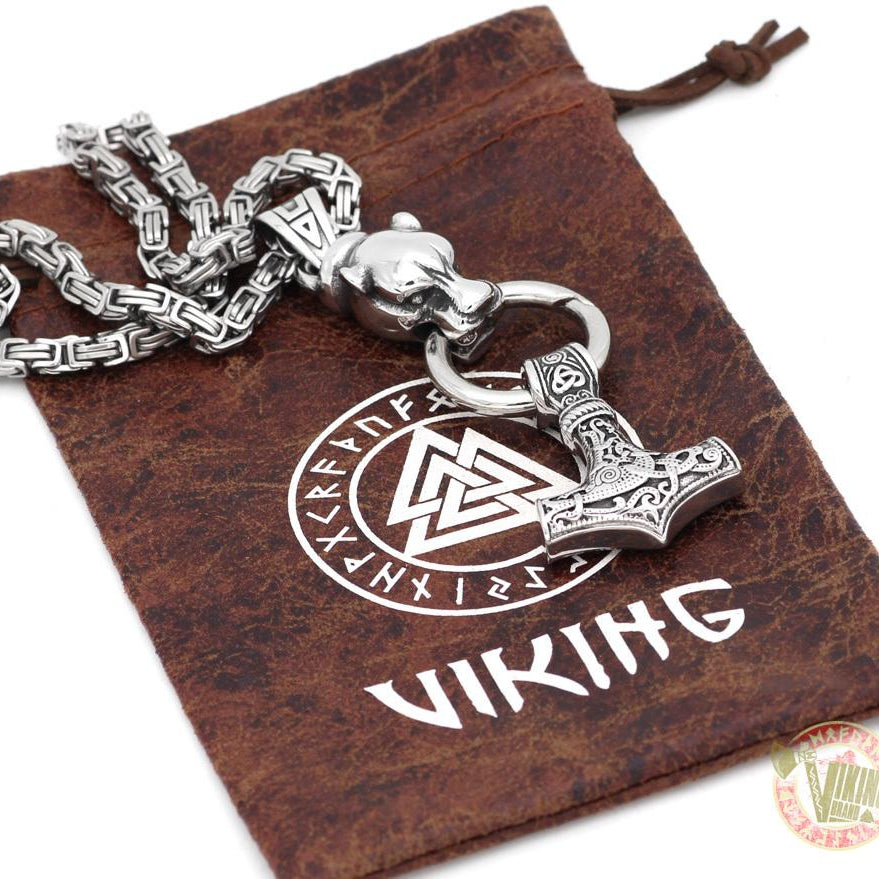 Viking Necklace with HUGE Wolf Head - VikingsBrand