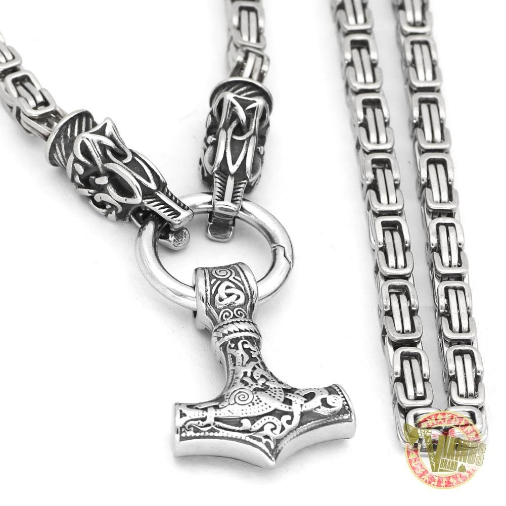 Viking Necklace with Wolf Heads and Mjolnir