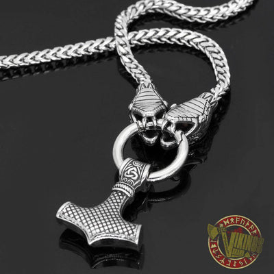Viking Ouroboros Head Necklace with Mjolnir Stainless Steel - VikingsBrand