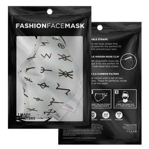 Viking Runes Face Mask Cover - White