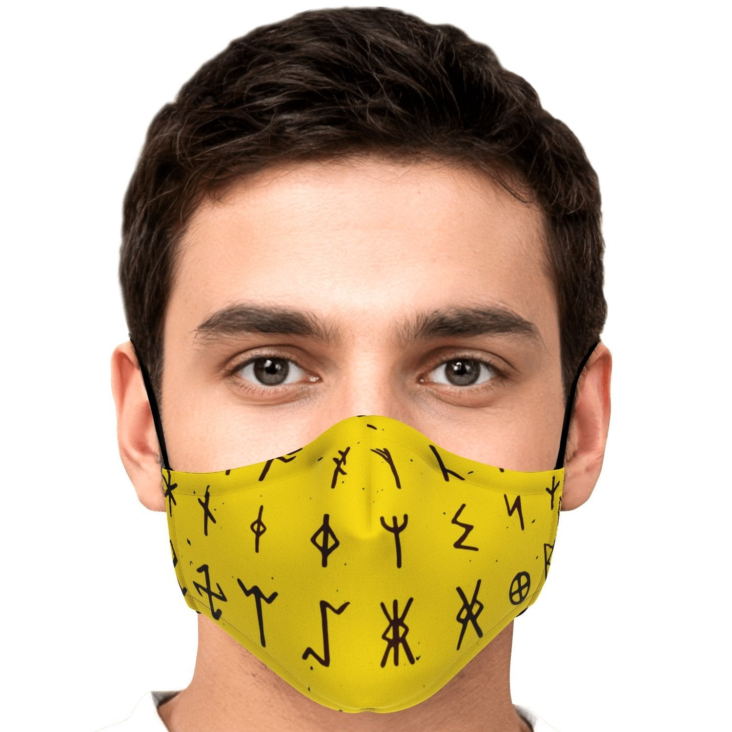 Viking Runes Face Mask Cover - Yellow