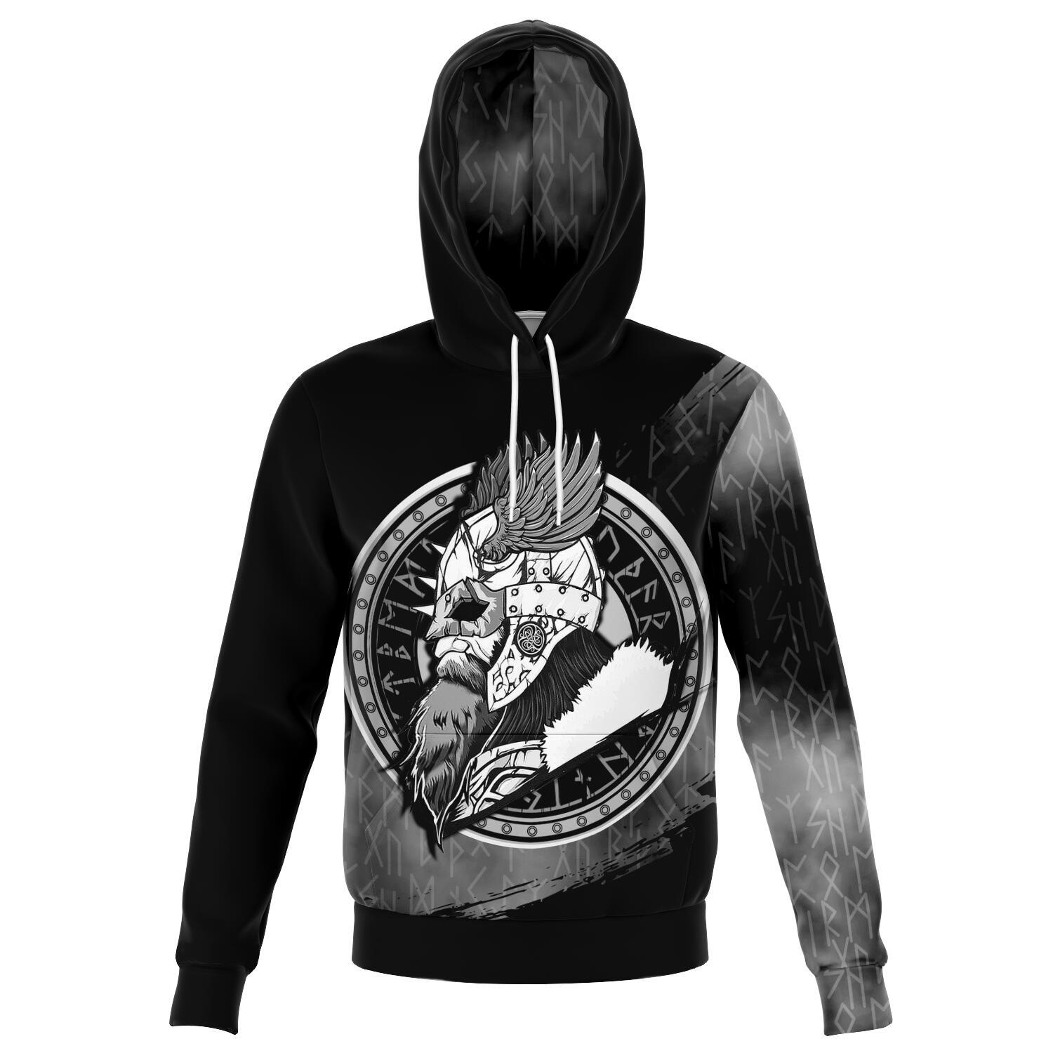 Viking Warrior Grey Hoodie with Mjolnir on the Back