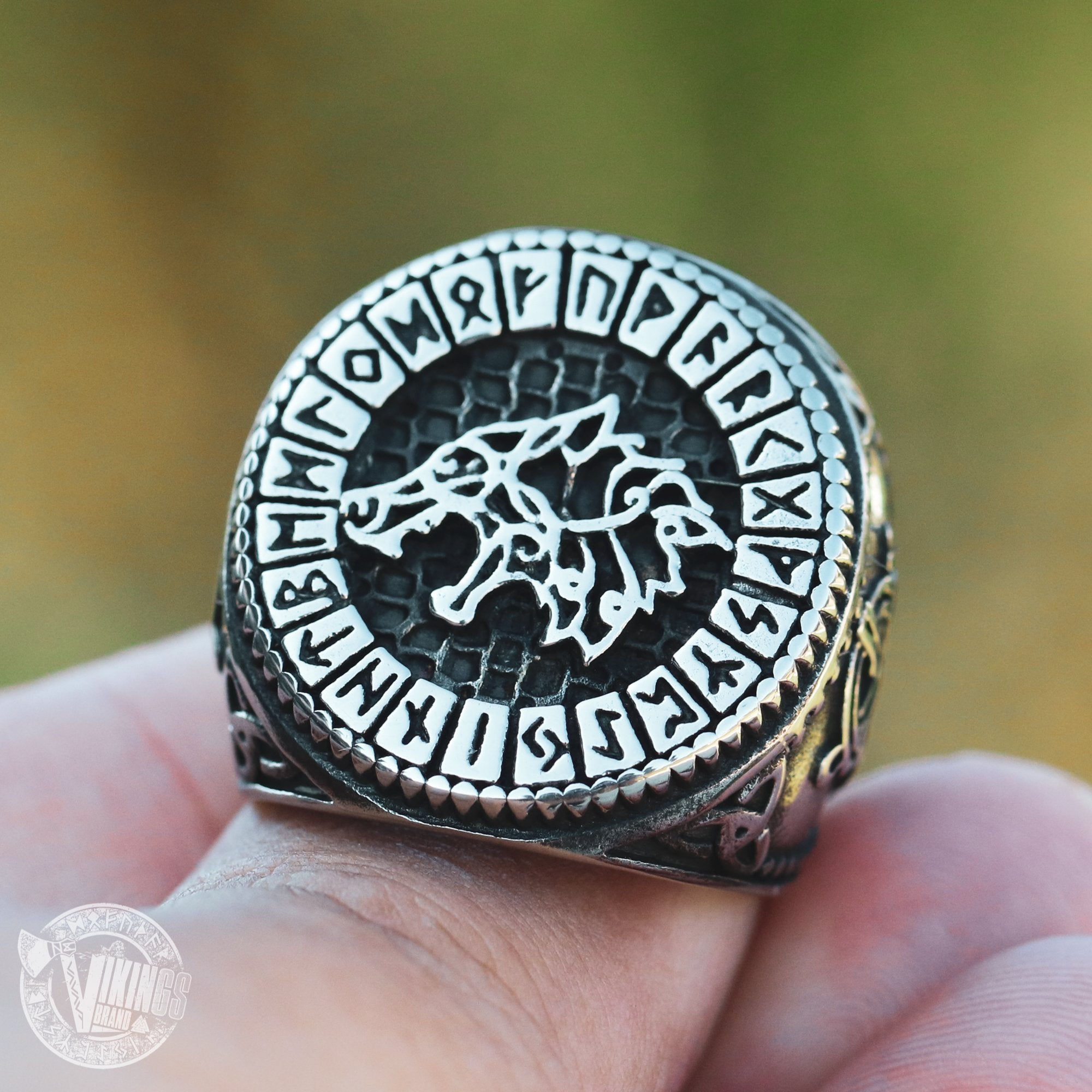 Viking Wolf Fenrir Stainless Steel Ring with Runic Circle - VikingsBrand