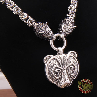 Viking Wolf Head Necklace with 925 Sterling Silver Bear Pendant - VikingsBrand
