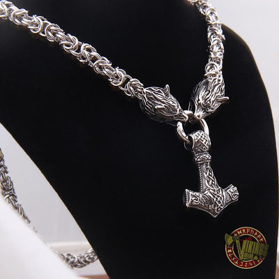Viking Wolf Head Necklace with 925 Sterling Silver Thor's Hammer - VikingsBrand