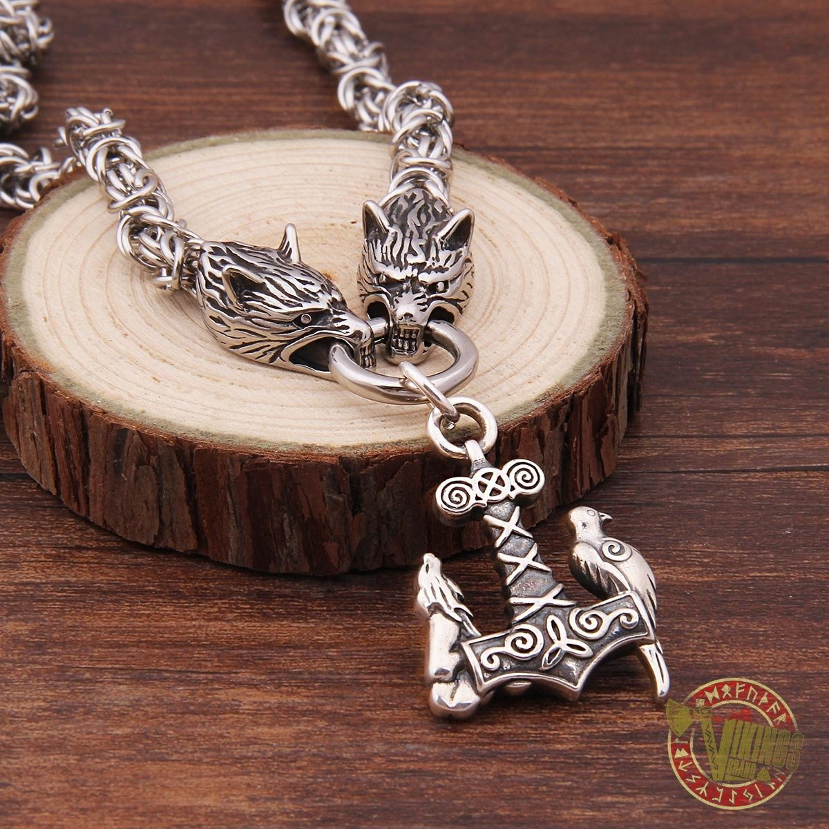 Viking Wolf Head Necklace with 925 Sterling Silver Wolf & Raven Mjolnir - VikingsBrand