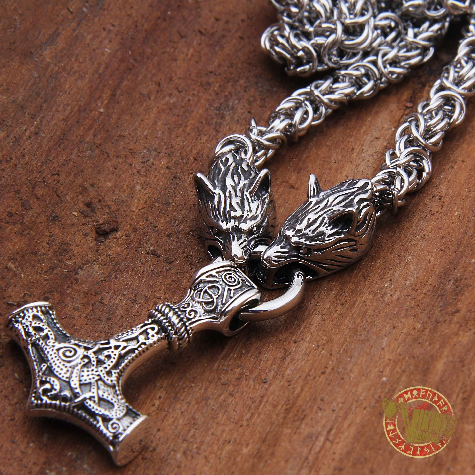 Viking Wolf Head Necklace with MASSIVE 925 Sterling Silver Mjolnir - VikingsBrand