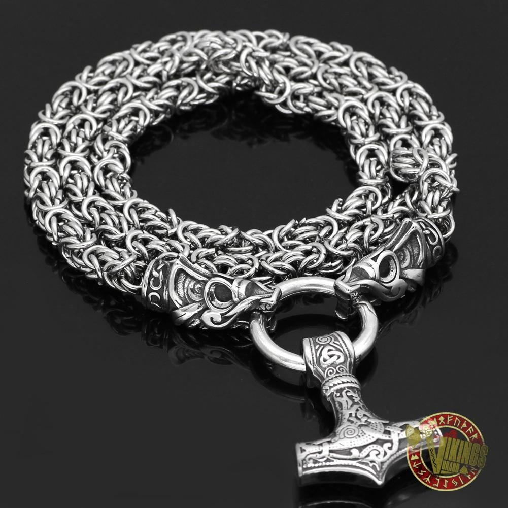 Viking Wolf Head Necklace with Mjolnir