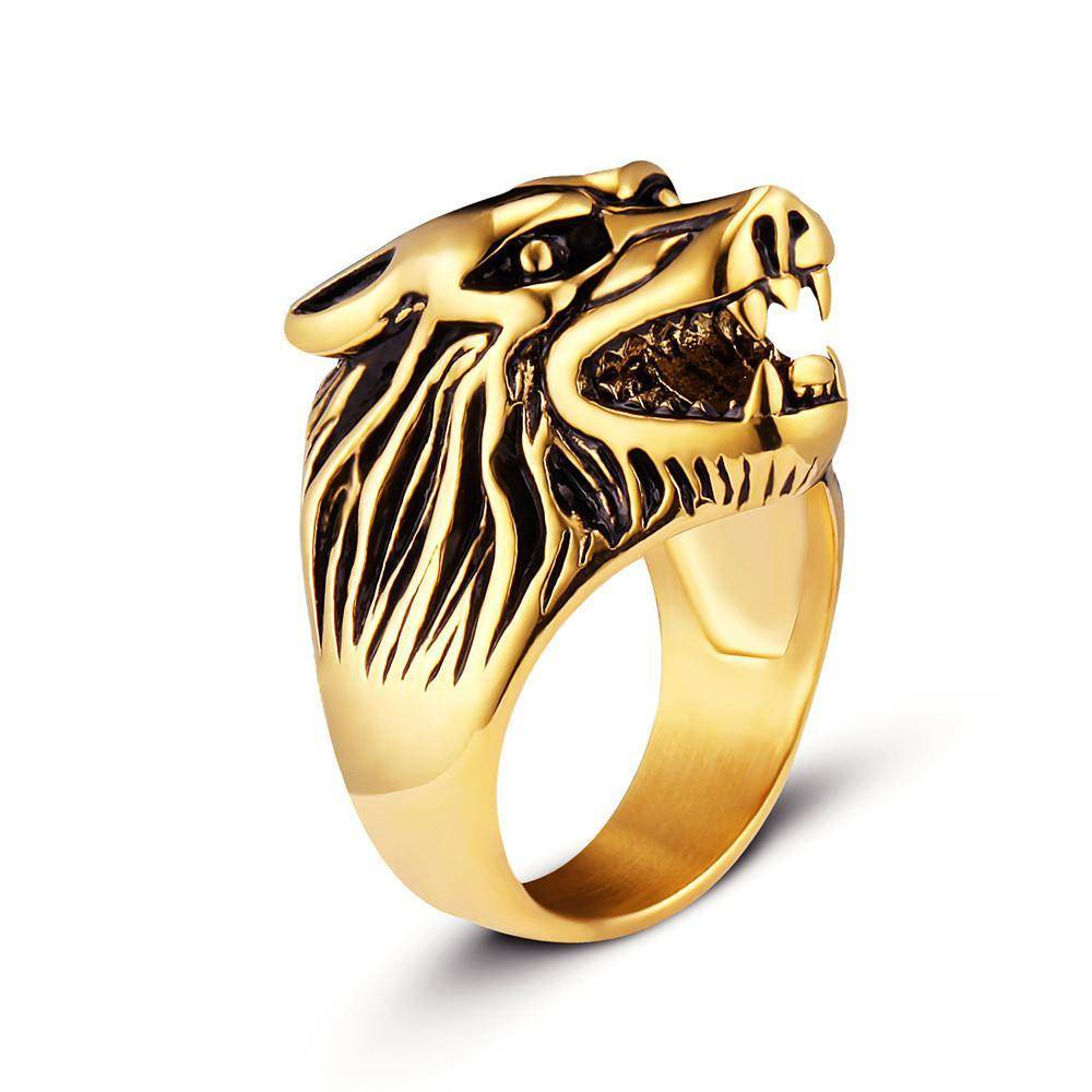 Viking Wolf Head Ring - VikingsBrand