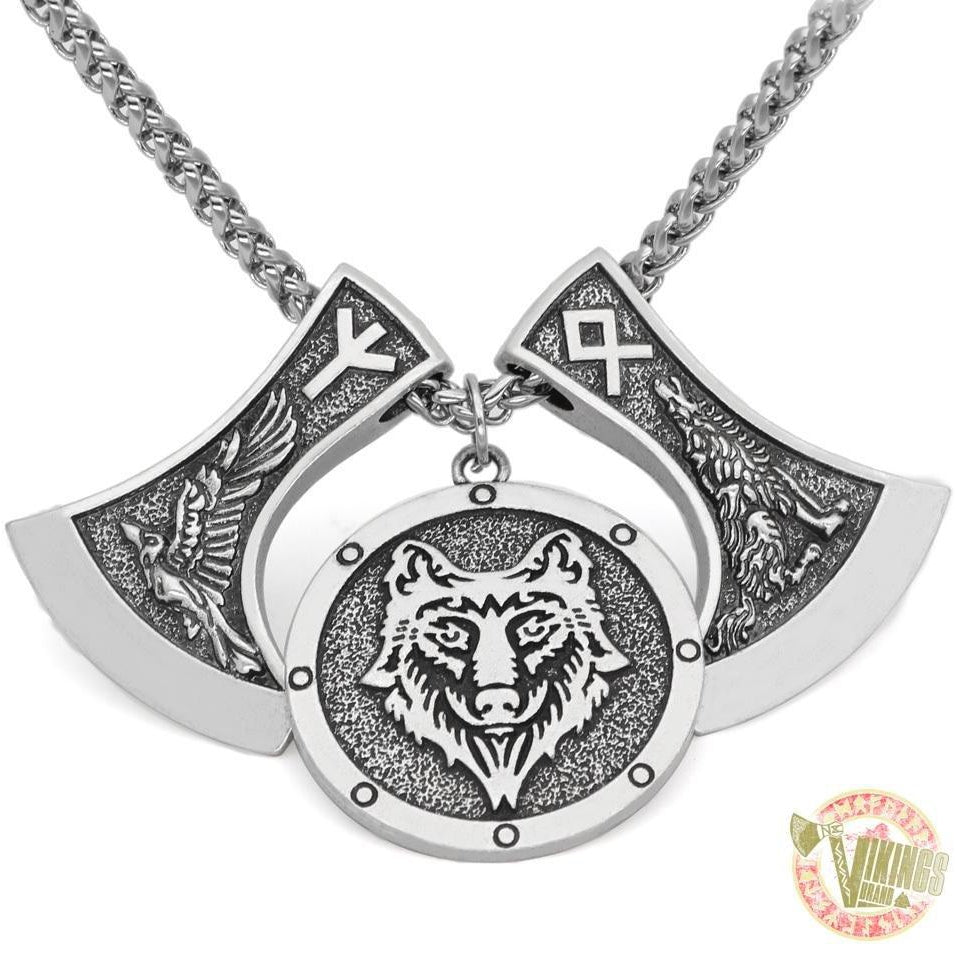 Viking Wolf & Raven Runic Necklace - VikingsBrand