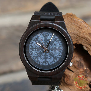 Viking Wooden Case Watch with Aegishjalmur and Runic Circle