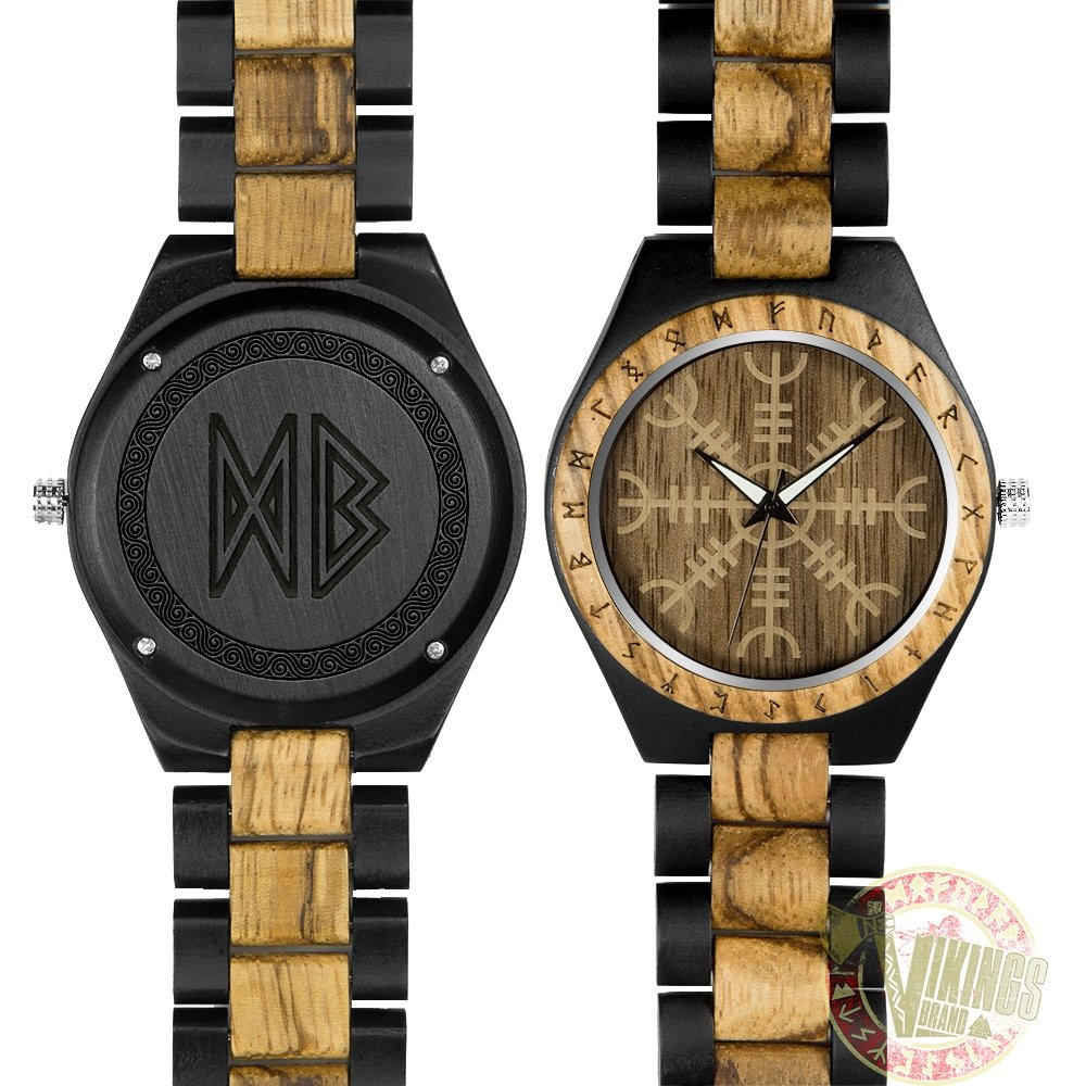 Viking Wooden Watch - Engrave Your Initials in Runic Symbols - VikingsBrand