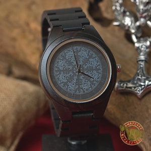 Viking Wooden Watch with Aegishjalmur and Runic Circle