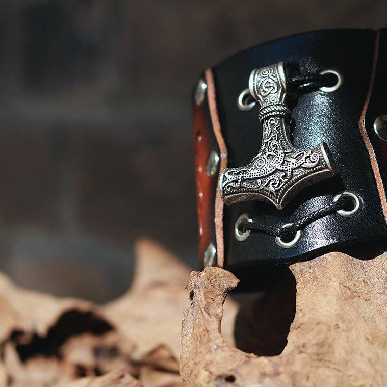 viking genuine leather thor hammer bracelet vikingsbrand