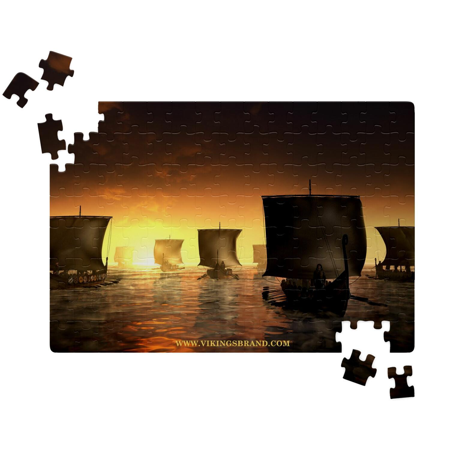 Vikings Ships on the Foggy Water Jigsaw Puzzle