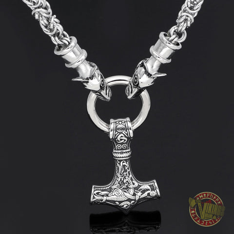 HANDMADE Massive Chain Stainless Steel Wolf Head Necklace with Thor's Hammer Mjolnir Pendant