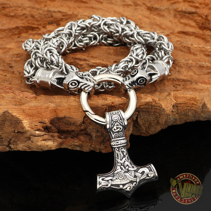 HANDMADE Massive Chain Stainless Steel Wolf Head Necklace with Thor's Hammer Mjolnir Pendant - VikingsBrand