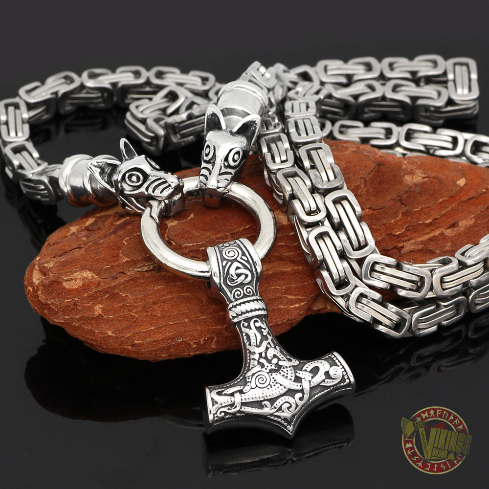 HANDMADE King's Stainless Steel Wolf Head Necklace with Thor's Hammer Mjolnir Pendant - VikingsBrand