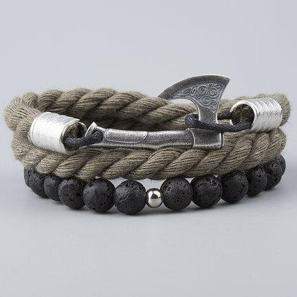 Viking Axe Bracelet with Lava Stone & Cotton Rope - VikingsBrand