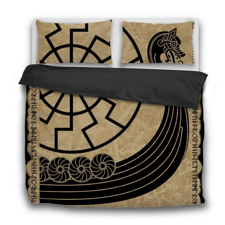 Warship of the Vikings - Drakkar - 3 Pcs Viking Bedding Sets - VikingsBrand