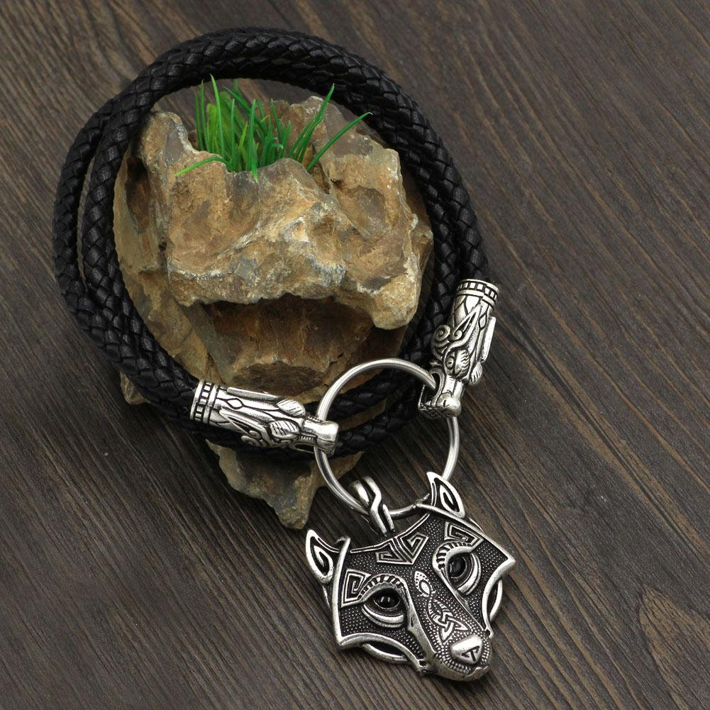 Wolf Head Genuine Leather Necklace with Wolf Head Pendant - VikingsBrand