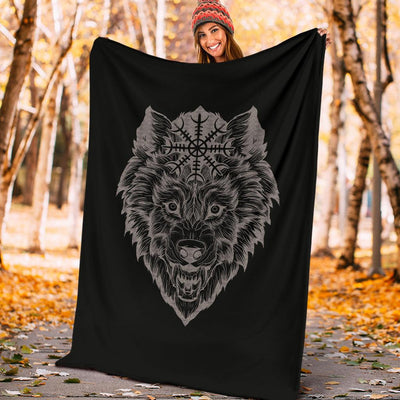 Wolf Head with Helm of Awe Fleece Blanket - VikingsBrand
