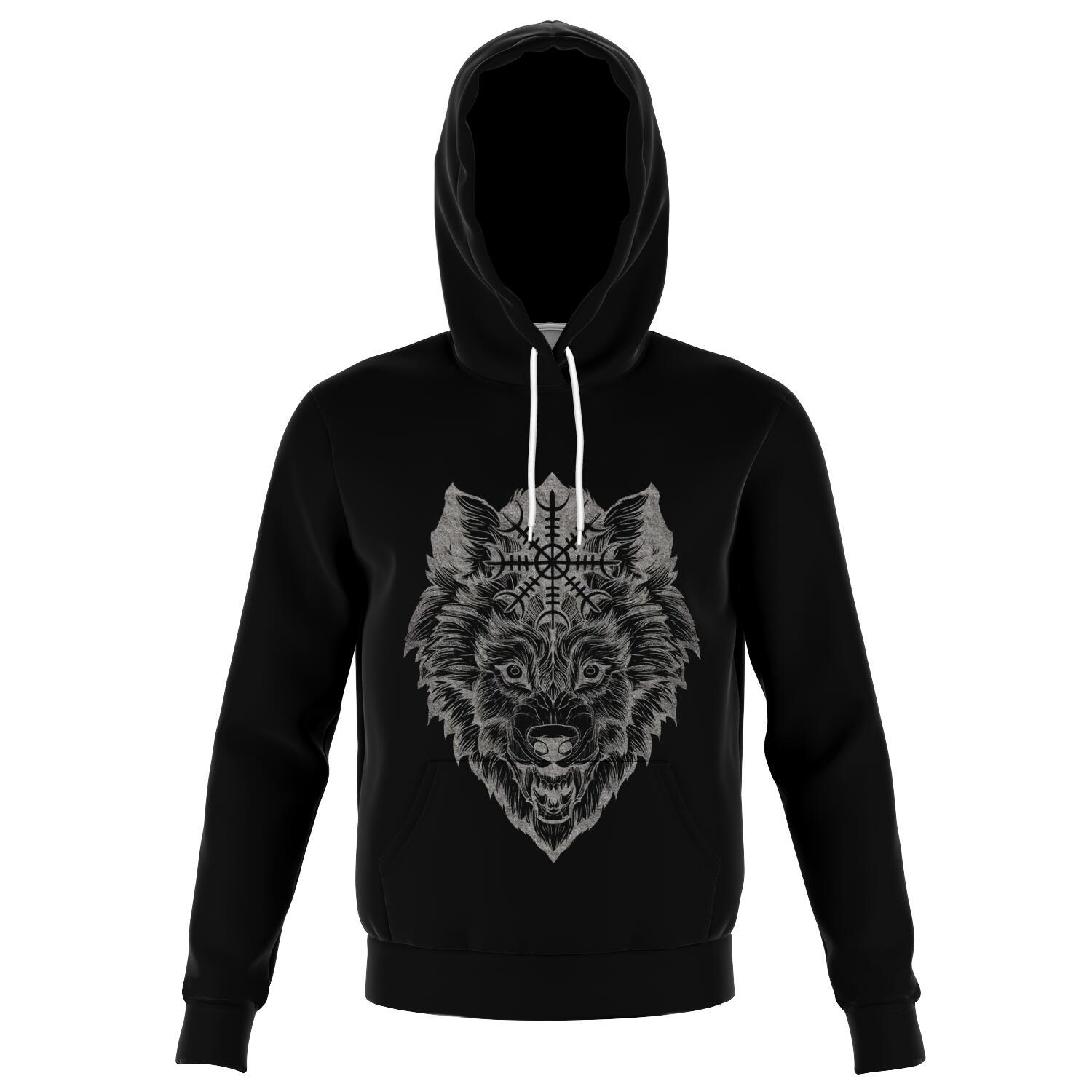 Wolf Head with Helm of Awe Hoodie Front - VikingsBrand