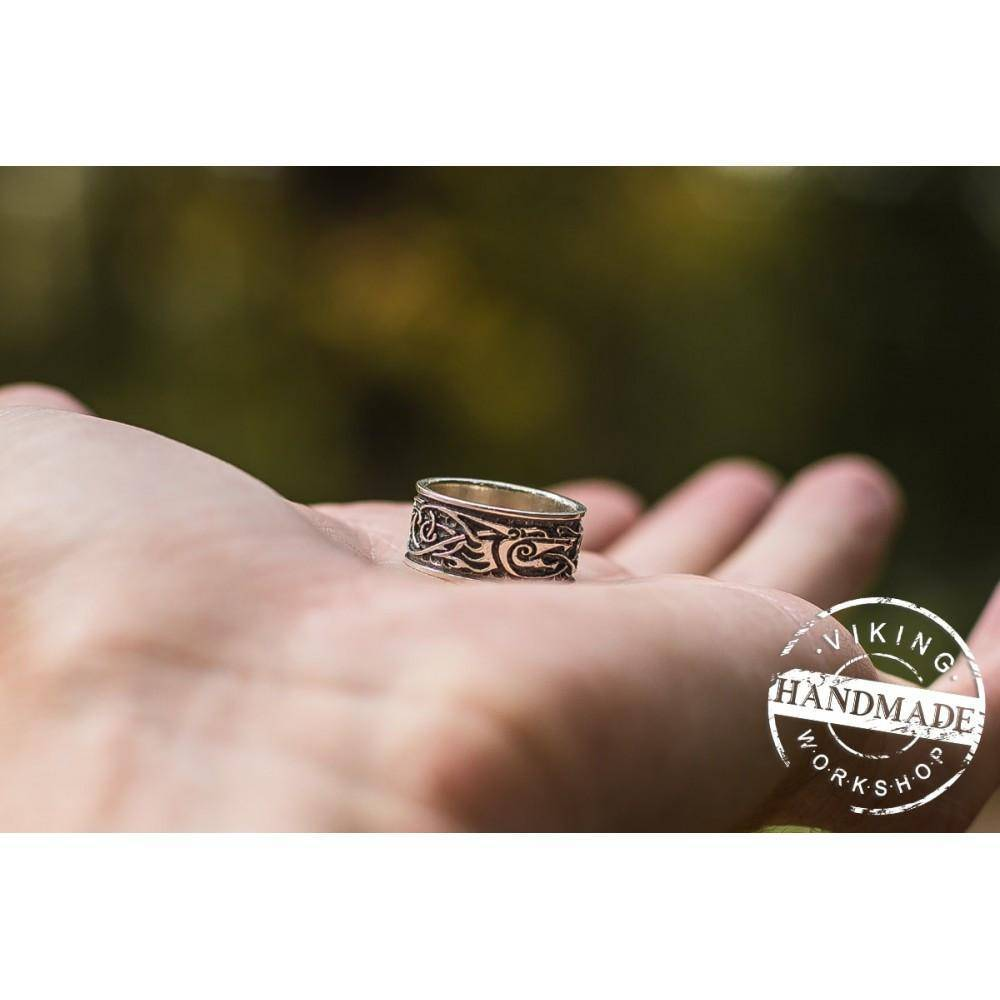 Wolf Ornament Ring Handmade Sterling Silver Viking Ring - VikingsBrand