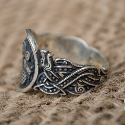 Wolf Style with Norse Ornament 925 Sterling Silver Viking Ring - VikingsBrand