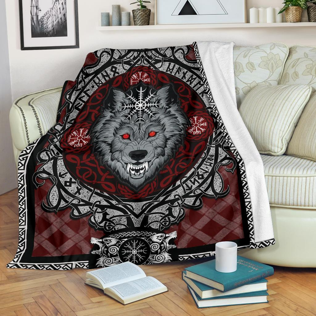 Wolf with Helm of Awe Red Fleece Blanket - VikingsBrand