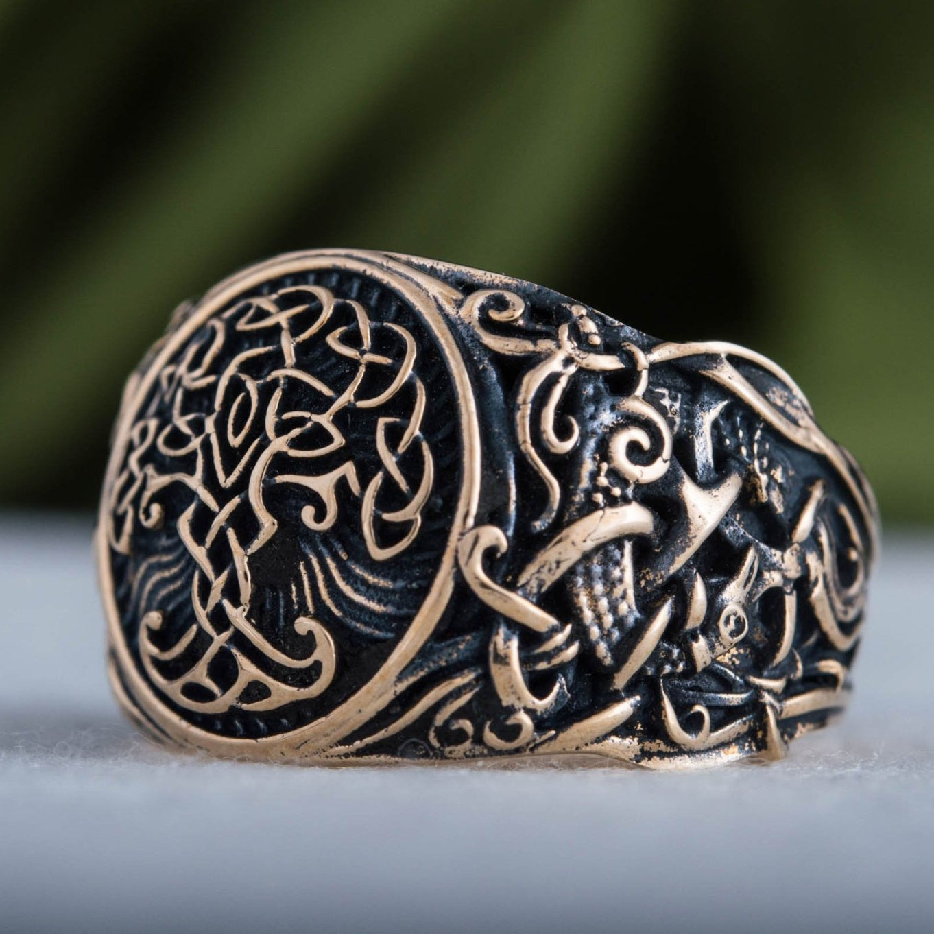 Yggdrasil Symbol with Mammen Style Bronze Viking Ring
