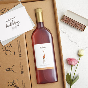 Rose Wine Letterbox Gift with 'Enjoy' chocolates