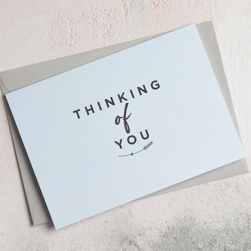 Light Blue 'Thinking of you' greetings card
