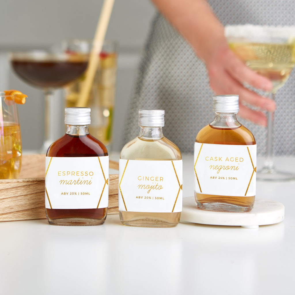 Miniature cocktails included with the Cocktail Letterbox Gift set