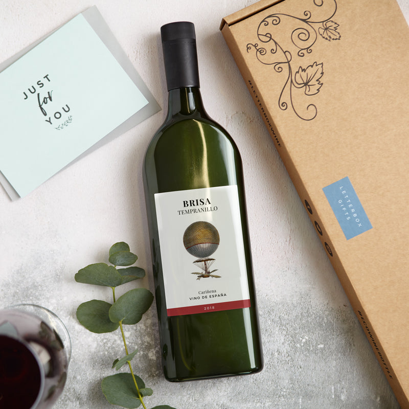 Letterbox Red Wine Gift with 'Just for you' Greetings card