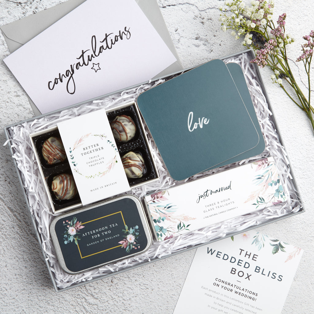 Wedded Bliss Letterbox Gift set with 'Congratulations' Greetings card