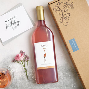 Rose Wine gift with 'Happy Birthday' Greetings card