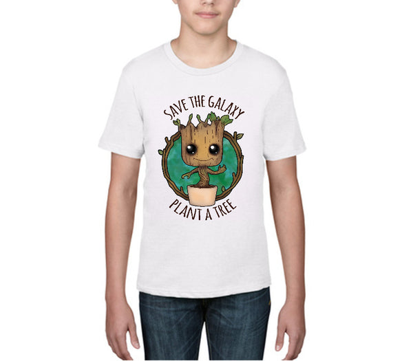 Kids 'Save The Galaxy Plant a Tree' Guardians of the Galaxy - Baby Groot - White T-shirt