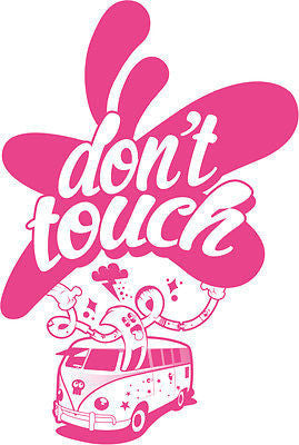 White Dont Touch T Shirt Size S M L XL XXL Hipster Camper Van VW Pink New