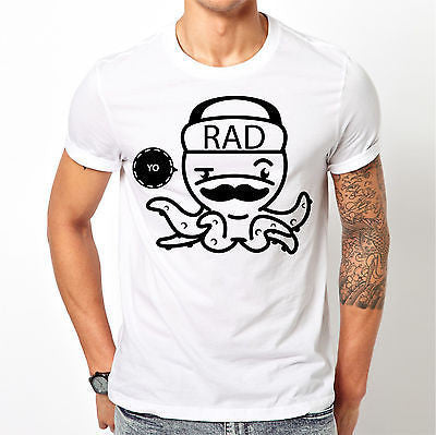 White Octopus T Shirt Size S M L XL XXL Printed Yo Rad Chill Black Crew Top New