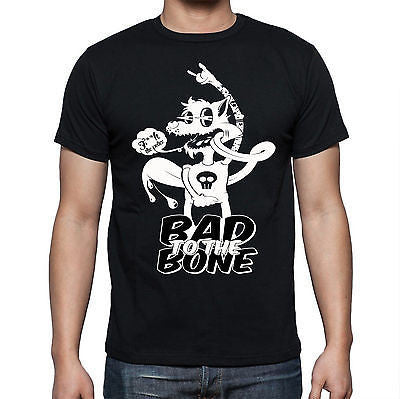 Black Bad To The Bone T Shirt Size S M L XL XXL F**k The Police Wolf Skull New