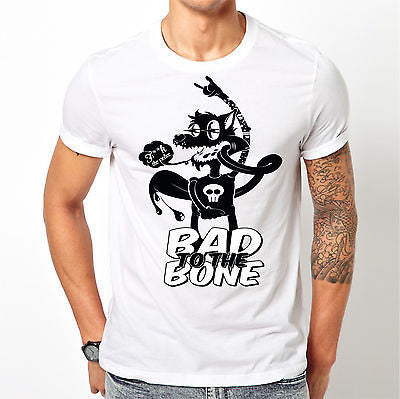 White Bad To The Bone T Shirt Size S M L XL XXL F**k The Police Wolf Skull New