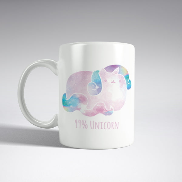 '99% Unicorn' Rainbow Cat Mug