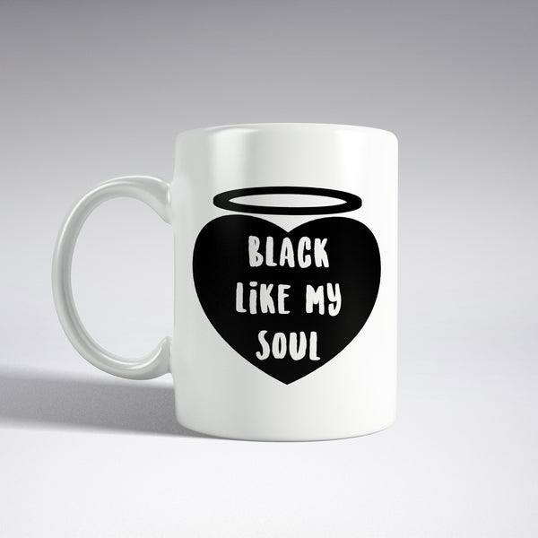 'Black Like My Soul' Heart Mug