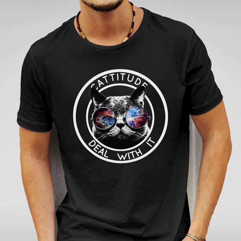Cattitude 'Deal With It' Black T-shirt